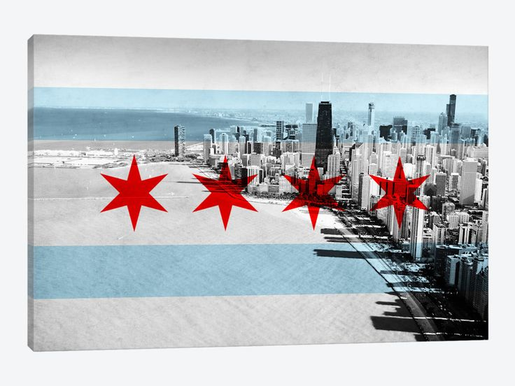 Chicago City Flag (Downtown Skyline) 1-piece Canvas Print ...