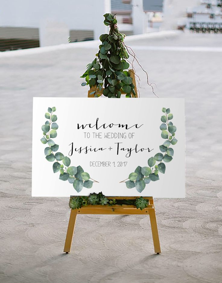 printable wedding place cards vintage%0A Printable Wedding Welcome Sign   Wedding Signage   Eucalyptus Event Signage    Welcome Signage   Party