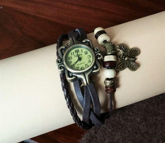 Hot-Lady Vintage Leder-Armbanduhr schwarz CA123 von Schmuckbaron