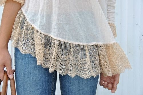 Get a plain tshirt and quick stitch lace to the bottom and maybe to the pocket.