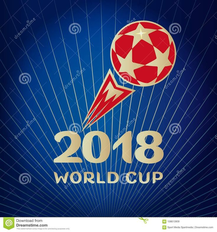 2018 World Cup Russia football sign Red color ball on blue abstract background, soccer champpionship vector template, advertising wallpaper, poster, gift card.