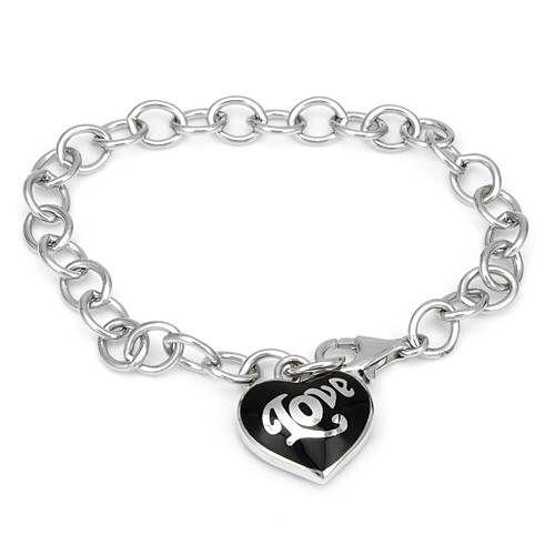 Flott armbånd i sølv med sort hjerte fra ESPRIT. #esprit #smykke #armbånd #sølv #hjertesmykke #hjerte #love #kjærlighet