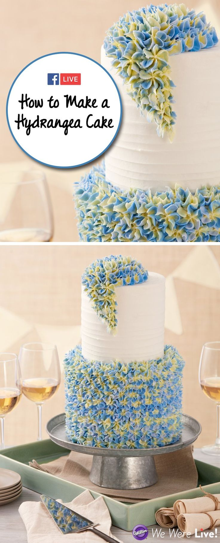 Click to watch how to make this beautiful hydrangea cake using Wilton piping tip 1B and tip 2D! This would make a perfect cake for a wedding shower and anniversary.