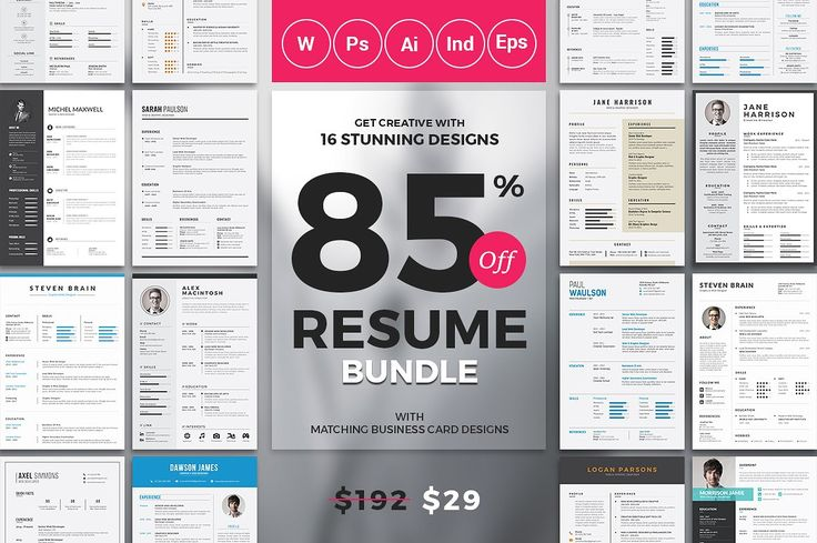 Total 39 Resume+Cover Letter and Matching Business Card Templates. The best resumes at best price is here, you will get all types of resume templates in four different formats Microsoft word, Photoshop and InDesign. All artwork and text are FULLY CUSTOMIZABLE.