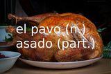 Thanksgiving words in Spanish: Thanksgiving turkey (pavo asado)