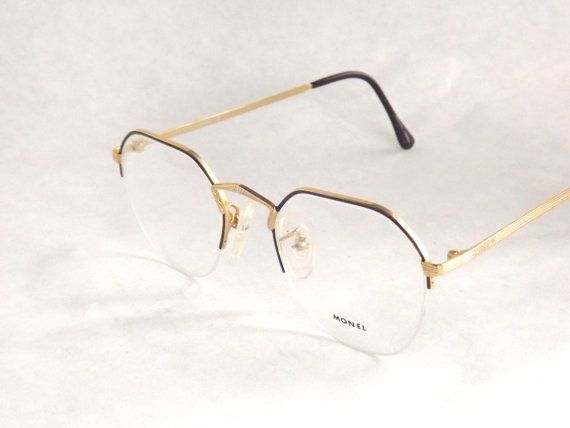 Gold Metal Glasses Frames : Black Eyeglasses, Womens Half Rimless Frames, Gold Metal ...