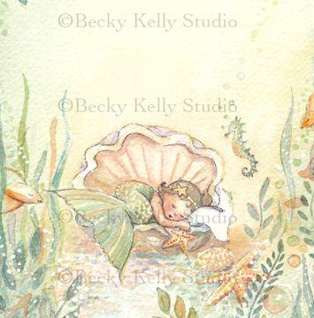 Sleeping Baby Mermaid Print : Becky Kelly Shop
