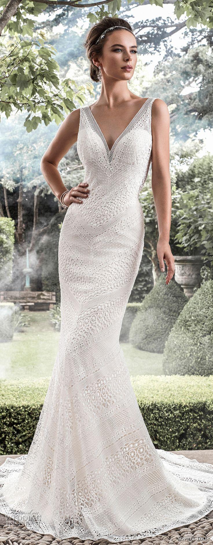 sophia tolli fall 2017 bridal sleeveless v neck full embellishment elegant fit and flare wedding dress open v back short train (30) mv -- Sophia Tolli Fall 2017 Wedding Dresses
