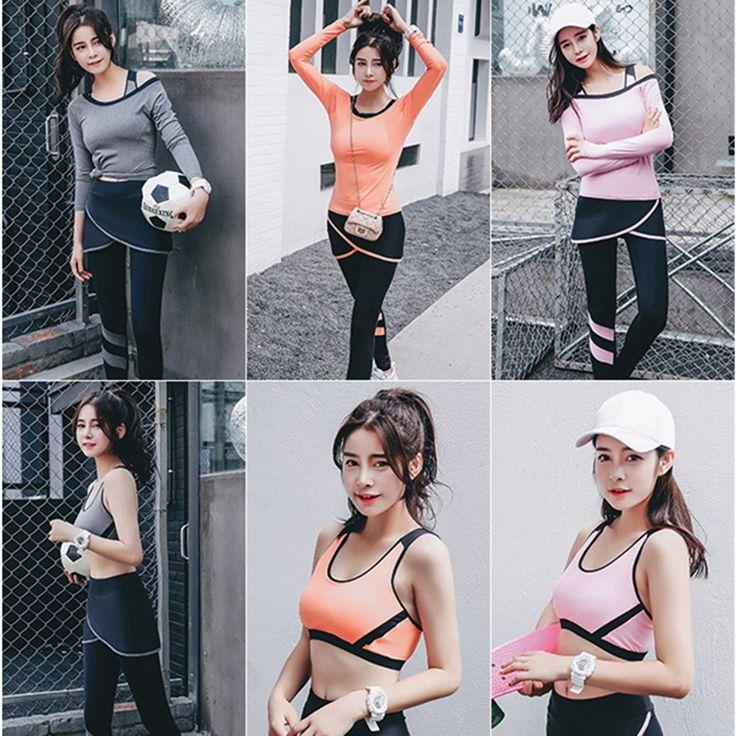 Donne yoga 3 set reggiseno + pantaloni di fitness workout abbigliamento e donne palestra sport corsa delle ragazze slim leggings