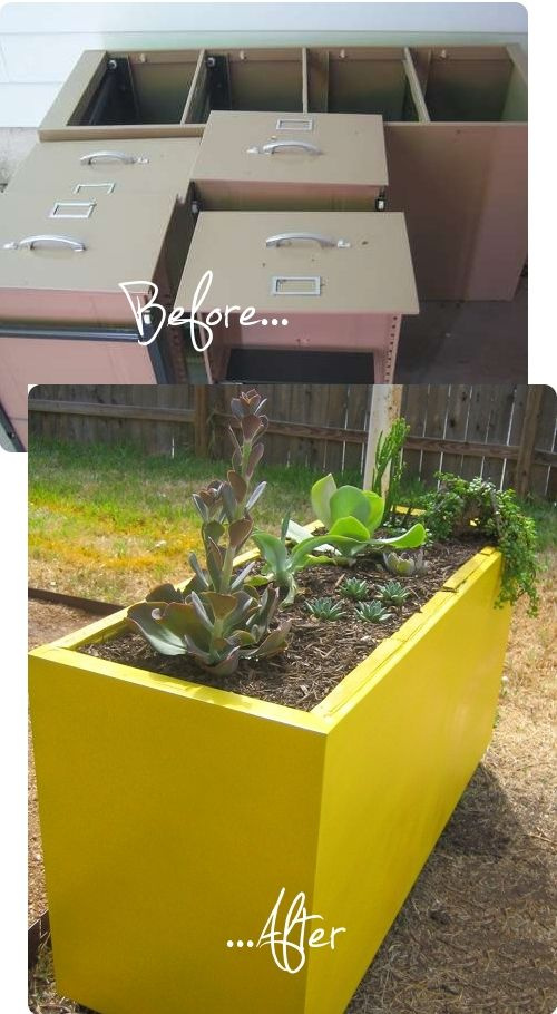 oooh genius repurpose!  Old filing cabinet + spray paint = raised planting bed. I might add that packing peanuts make a good filler for the bottom of deep containers, then just put your potting soil on top. Makes for good drainage too.: Raised Flower Bed, Cabinet Planter, Raised Garden