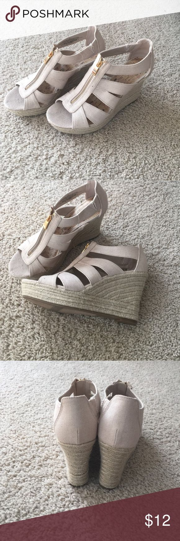 NWOT beige zip up wedge! Similar look to the Micheal Kors Sandals, these tan zip up wedges are a perfect summer shoe! Shoes Wedges