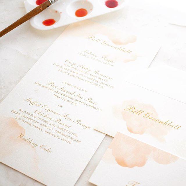 Pastel Pink Watercolor Wedding Dinner Menu By Honey Paper