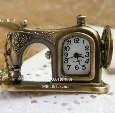 kleine modeaccessoires ketting vintage naaimachine tafel vintage zakhorloge ketting lange ketting zakhorloge ketting
