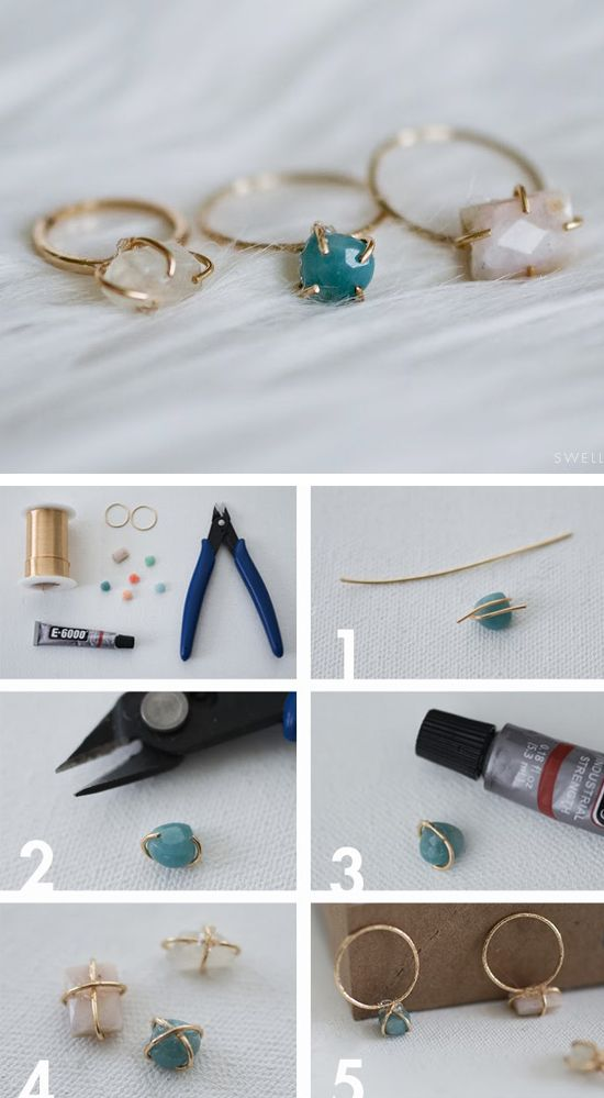 """DIY Jewellery - make your own dainty stone set wire ring - craft project; handmade jewelry tutorial"""