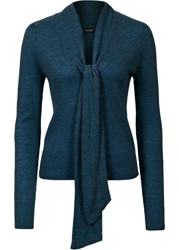 Пуловер с бантом, BODYFLIRT, серо-синий меланж