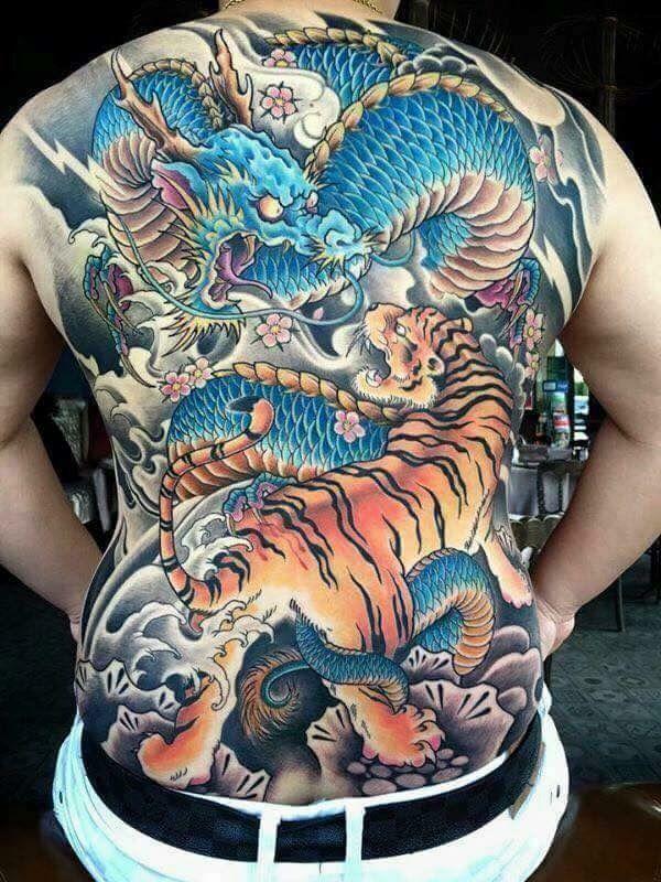 Costas Oriental Tatuagem japonesa, Cores de tatuagem