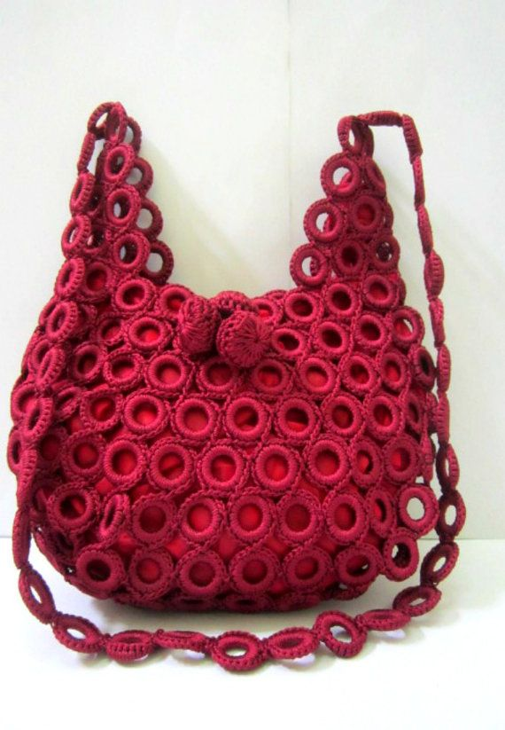 Free Crocheted Sling Bag Maroon Purse With by ChikraftHandmade