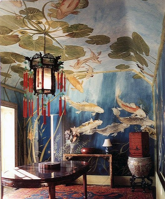 Ethan wants an Asian inspired bedroom. I love how this looks like you are looking up from under a koi pond. *