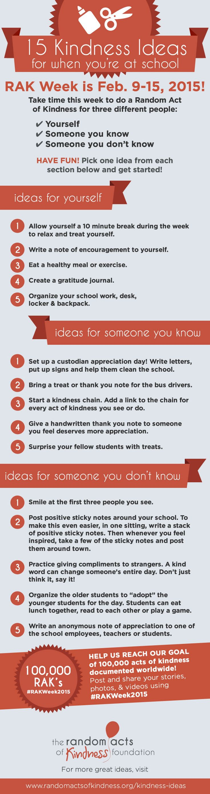 15 Kindness Ideas For When You're At School #rakweek2015