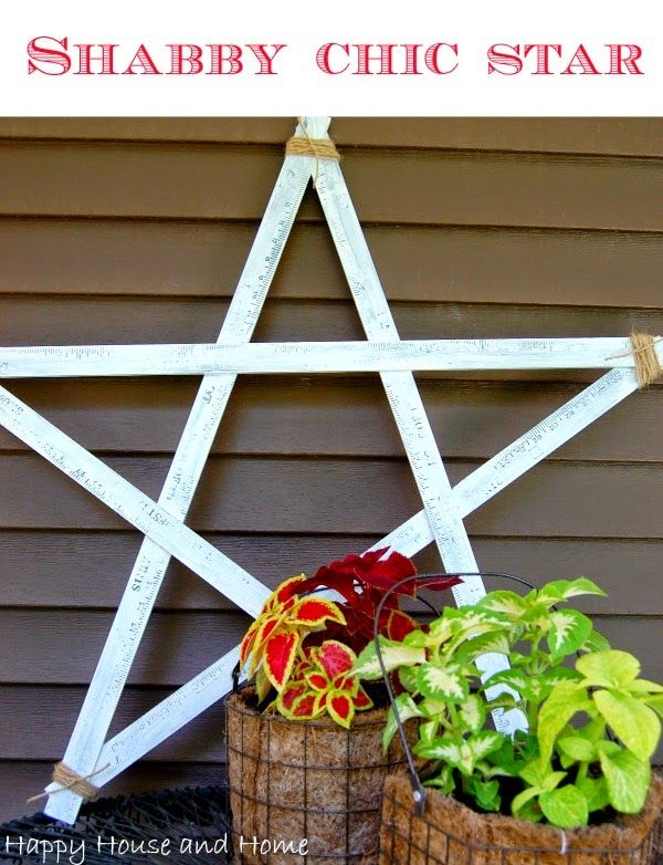 DIY Shabby Chic Star made out of yard sticks. Simple, large #wallart #DIYart