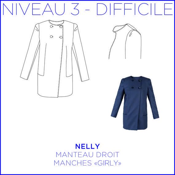 """Patron - Manteau Nelly girly, Manteau droit à poche, manches """"girly"""", patron à taille réelle du 36 au 44"""