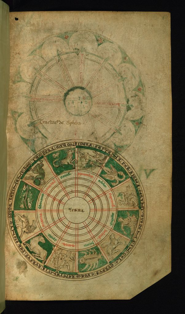 Illuminated Manuscript, Compendium of computistical texts, Diagram of the Zodiac, Walters Art Museum Ms  W.73, fol. 1r | por Walters Art Museum Illuminated Manuscripts