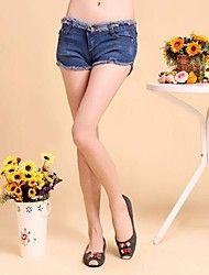 Dambyxor  ( Polyester ) Shorts/Jeans  -  Mellan  -  Mikro-elastiskt