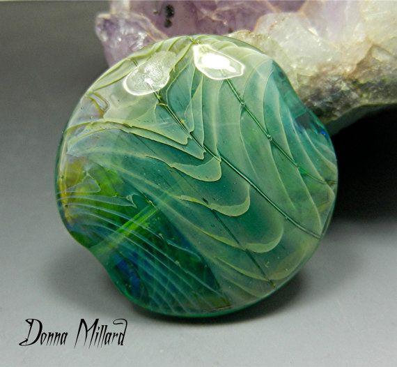 sra handmade lampwork bead silver glass focal bead donna millard organic ocean sea green blue