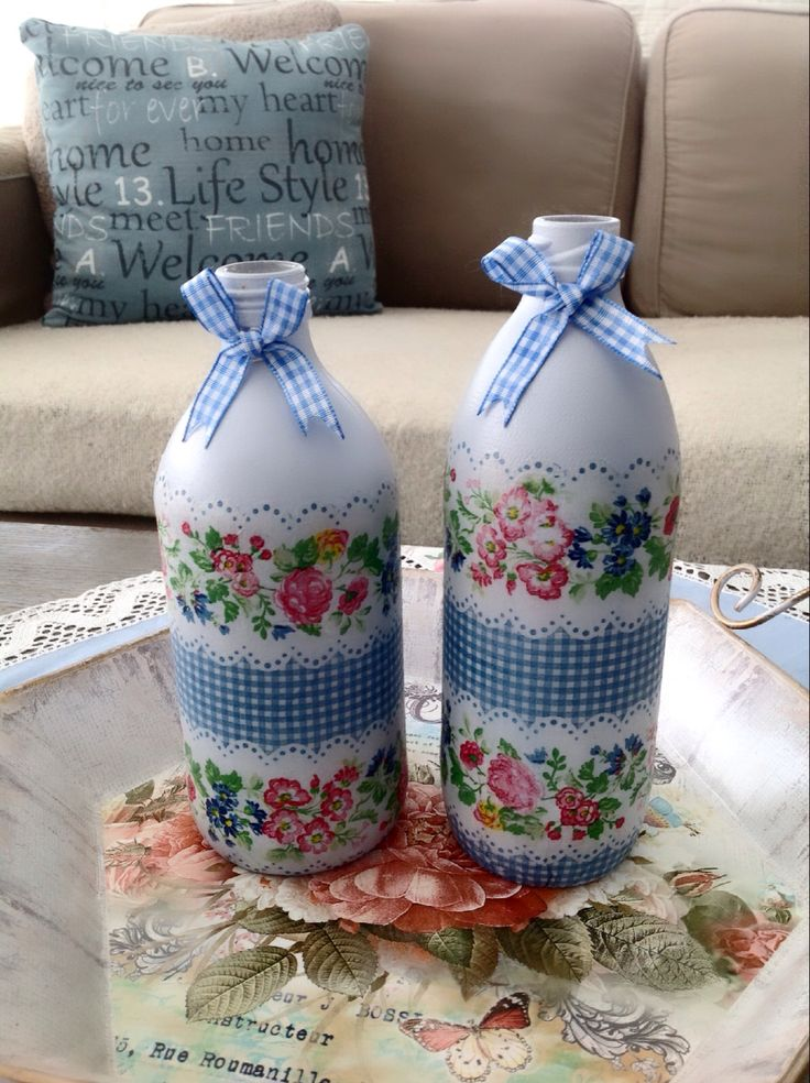 Decoupage bottles ❤️