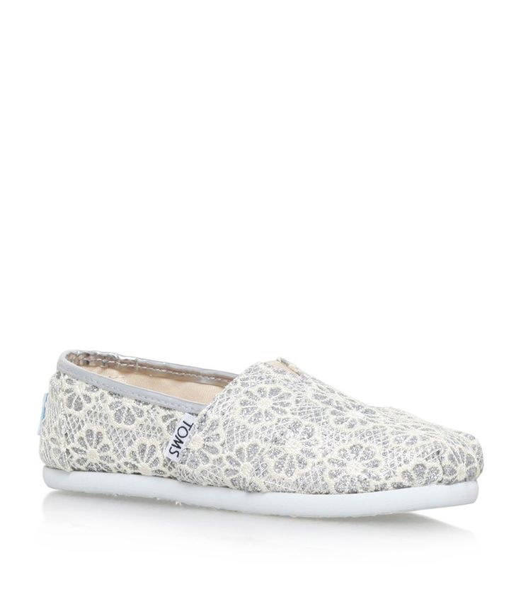 TOMS Crochet Glitter Youth Classic Shoes Silver | Harrods