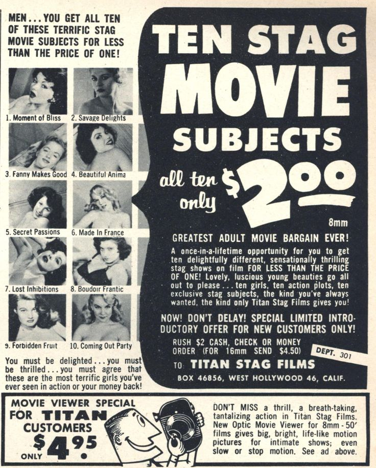 """""""Ten Stag Movie Subjects...only $2.00"""". Titan Stag Films 1960. #vintageads #Ads #vintage #PrintAd #tvads #advertising #BrandScience #influence #online #Facebook #submissions #marketing #advertising"""