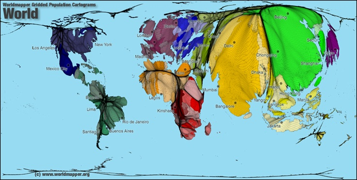 Worldmapper gridded population Cartogram.