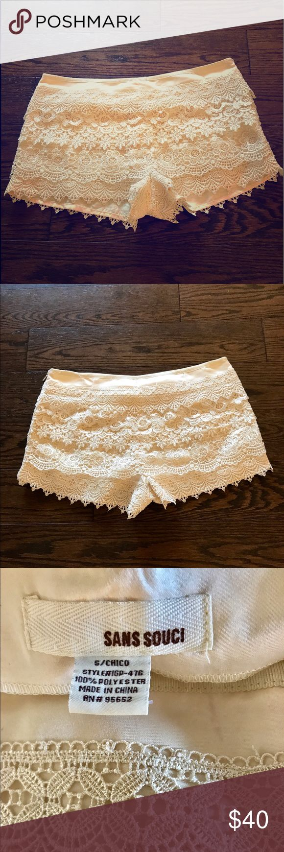 SANS SOUCI Lace Shorts Cream Lace shorts with an invisible side zip. Absolutely classy. Excellent Condition Anthropologie Shorts