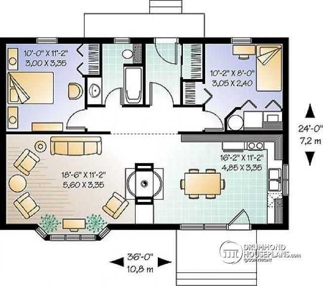 W2923 Simple Small Tiny Cabin House Plans With Open