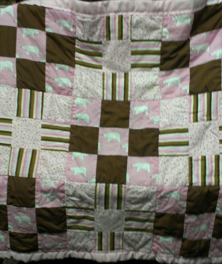 Pink&brown polar bear baby quilt