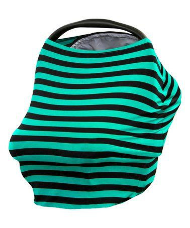 This Teal & Black Stripe Universal Car Seat & Nursing Cover is perfect! #zulilyfinds