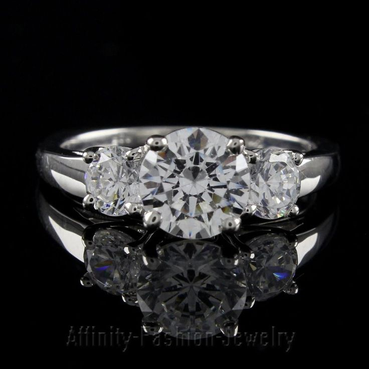 3.60 ct Round Cut D/VVS1 10K White Solid Gold Three Stone Ring #AffinityFashionJewelry #ThreeStone #EngagementWeddingAnniversaryPromiseValentine