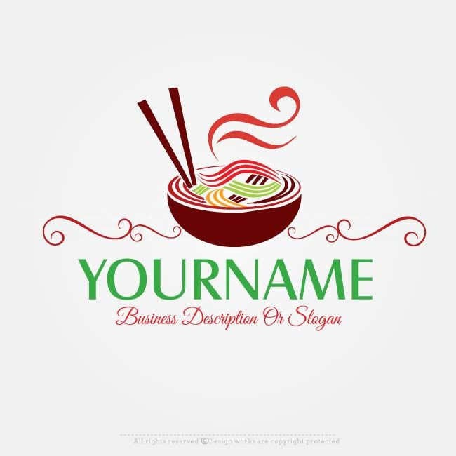 Noodles logo design for sale online Ready made Noodles logo design suitable for branding a Food Logo, Restaurant Logo, Food Manufacturing Logo  etc.    Make a logo design with our free logo maker Use our online logo maker to create your own logo, change your business name, colors, fonts, text & more.     Need some extra premium colors & fonts? Our logo designers will redesign your company logo