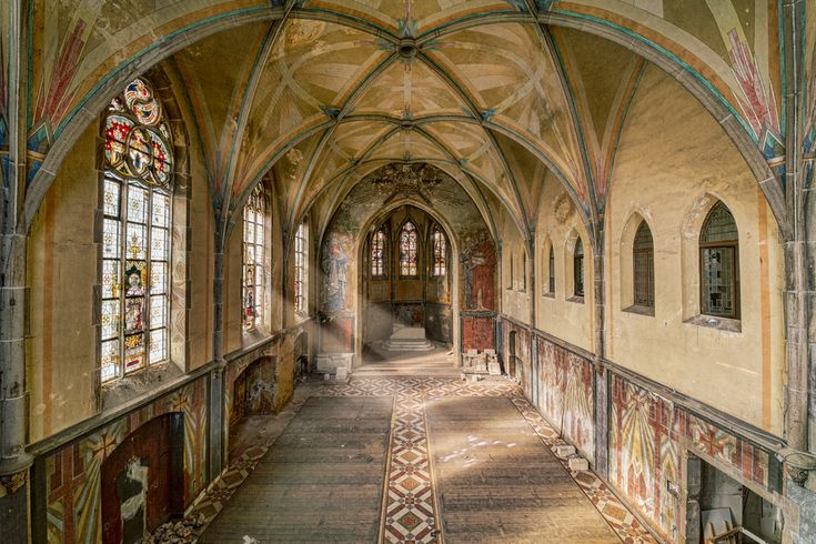 Kent School - Chapel of an abandoned school/monastery in Germany; most residents were mentally ill, then it became an orphanage for kids who were to be killed by the Third Reich (disabled and Jewish), followed by a wounded soldier building in 1963. Now empty...