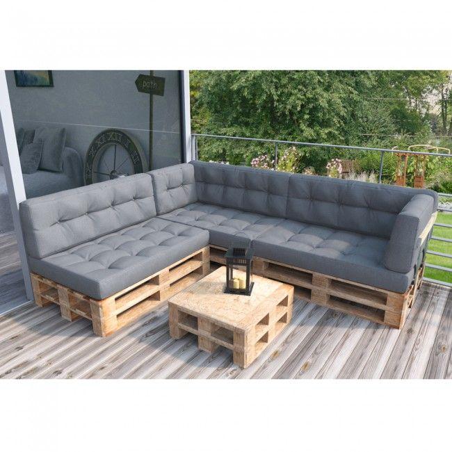 Palettenkissen Set Sitz+Seitenkissen+Seitenlehne grau