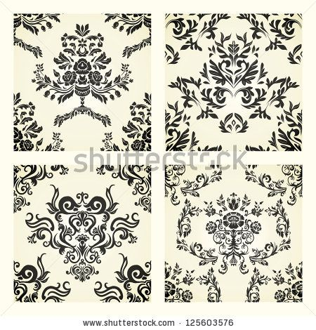 collection of damask patterns on beige background - stock photo