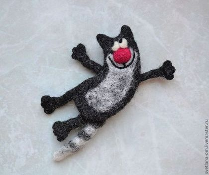 """Броши ручной работы. Ярмарка Мастеров - ручная работа Валяная брошь """"Улетный кот"""". Handmade."""