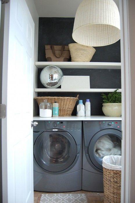 Chalkboard wall laundry closet