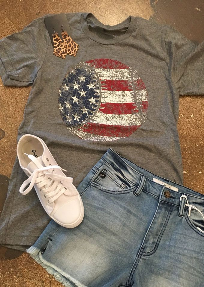 American Flag Baseball Printed T-Shirt - Bellelily