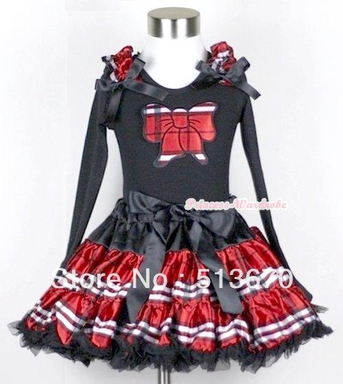Красный черный плед юбка с красный черный плед бабочка черный топ с длинными рукавами с проверено оборками и черным бантом MAMW142
