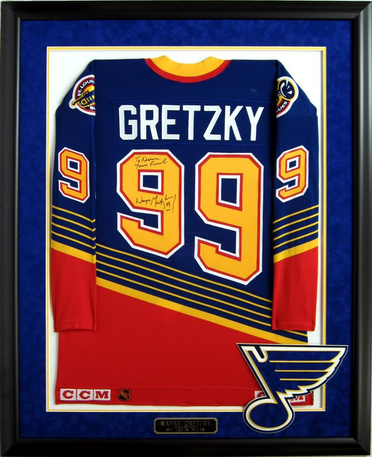 Wayne Gretzky Saint Louis Blues Autographed and Framed Jersey. #NHL #Playoffs #Blues #Gretzky #Hockey #Jerseys #Autographs #Memorabilia #Frames