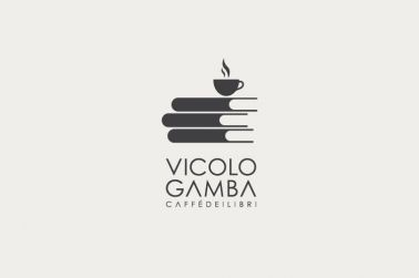 undefined  Vicolo Gamba is an italian innovative bookshop in which you can read a book while you drink a coffee. The logo is designed thinking about the beautiful disorder of an old bookshop where the bookseller randomly leave a cup of coffee on a book.