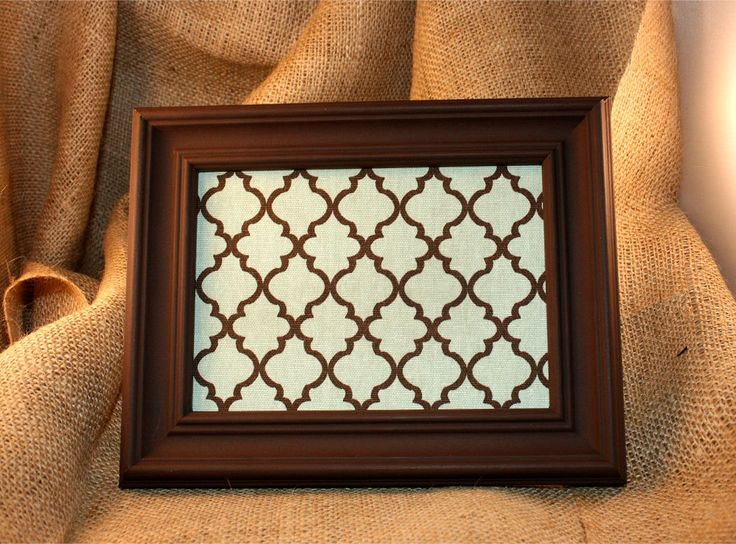 Blue & Brown Fabric Corkboard with Brown Frame
