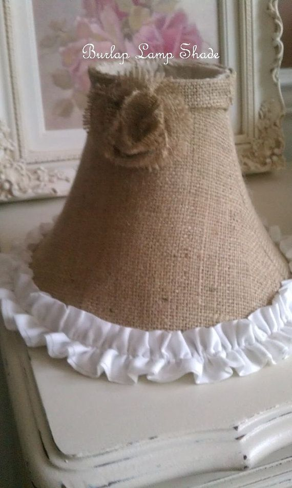 Shabby Chic Burlap Bell Shaped Lampshade with Cottage White Ruffle