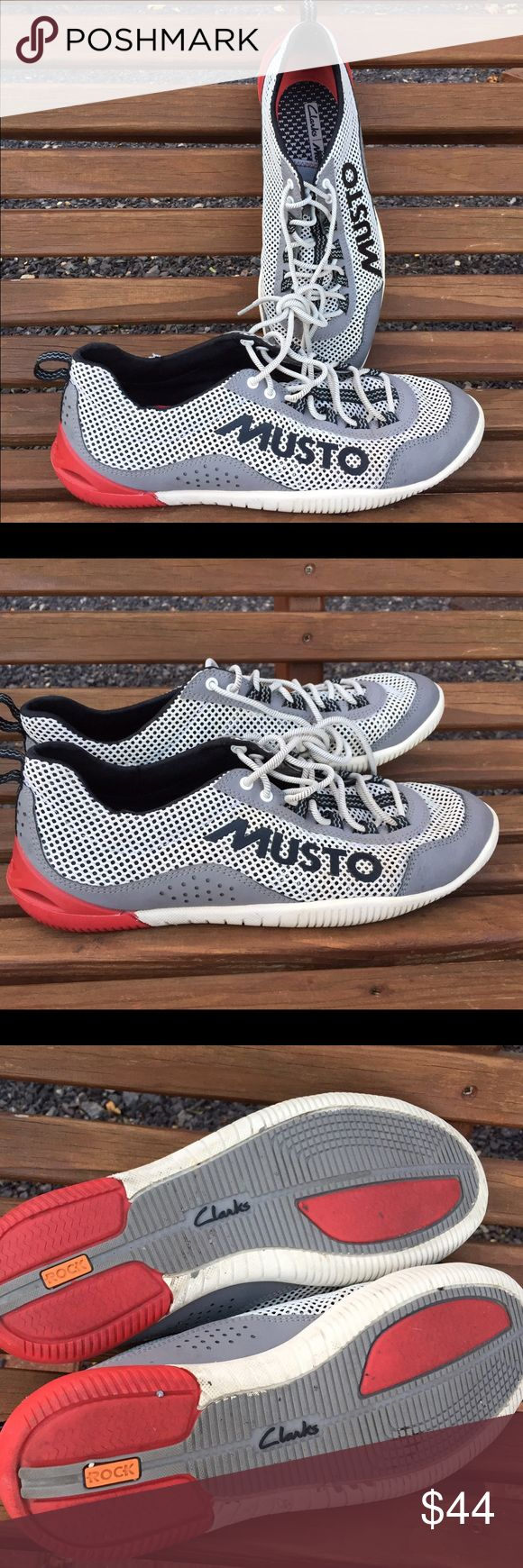 Mens Clarks Musto Lightweight Training Sneakers Size 9.5 medium. Worn twice. Has a small area on one side where there was a bit of damage from removing original tag. See last picture for details. Super hard to find Clarks Shoes Sneakers